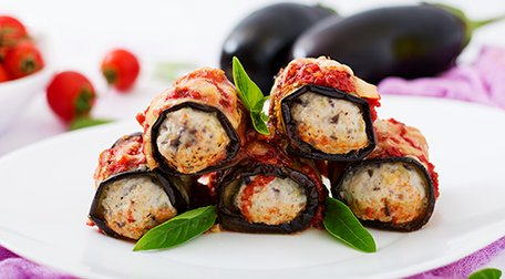 Eggplant (aubergine) rolls with meat